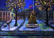 Waltham Firehouse Prints - Christmas at the Municipal Center Print by Rita Brown