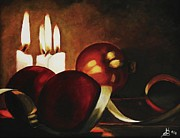 Kim Selig Metal Prints - Christmas Balls in Candle Light Metal Print by Kim Selig