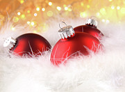 Backgrounds Photos - Christmas balls with abstract holiday background by Sandra Cunningham