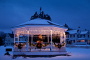 Bandstand Prints - Christmas Bandstand Print by Susan Cole Kelly