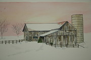 Old Barn Paintings - Christmas Barn by Barbara Daugherty