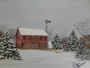 Snow On Barn Posters - Christmas barn Poster by Colleen Barnhart