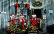 Store Fronts Prints - Christmas Barn Print by Laura DAddona