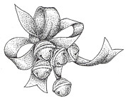 Pointillism Drawings - Christmas Bells by Christy Beckwith