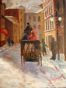 Horse And Buggy Painting Posters - Christmas Buggy Ride  Poster by Claiborne Hemphill-Trinklein