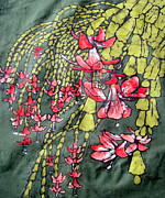 Cotton Muslin Art - Christmas Cactus Batik by Kristine Allphin