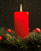 Candle Lit Prints - Christmas Candle Print by Utah Images