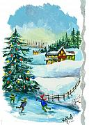 Winter Scene  Christmas Canvas Art Paintings - Christmas Card - Winter by Elisabeta Hermann