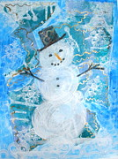 Christmas Snowman Framed Prints - Christmas Card 6 Framed Print by Jude Ongley-Mowris