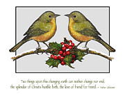 Christmas Card Birds And Friendship Print by Joyce Geleynse