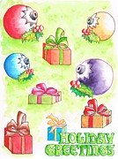 Boxes Paintings - Christmas-card by Carlos G Groppa