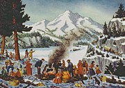 Depicting Paintings - Christmas card depicting a Pioneer Christmas by American School