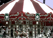 Gray Horses Photos - Christmas Carousel by DigiArt Diaries by Vicky Browning