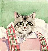 Felines Painting Prints - Christmas Cat Print by Arline Wagner