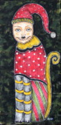 Folk Art Paintings - Christmas Cat by Rain Ririn