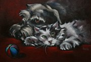 Kitten Painting Prints - Christmas Companions Print by Cynthia House