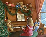 Little Girl Tapestries Textiles - Christmas Concert by Susan Rinehart