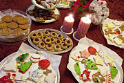 Table Cloth Prints - Christmas Cookies Print by Will & Deni McIntyre