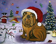 Santa Puppy Posters - Christmas Crash Poster by Leah Saulnier The Painting Maniac