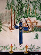 Stain Glass Christmas Posters - Christmas Cross Poster by Ann Whitfield