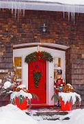 Religious Art Photos - Christmas Decorations Around A Front by David Chapman