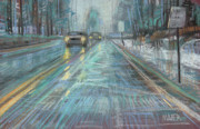 Transportation Pastels Prints - Christmas Drive Print by Donald Maier