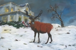 Gail Daley Framed Prints - Christmas Elk Framed Print by Gail Daley