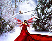 Christmas Eve Painting Prints - Christmas Eve Angel Print by Jai Johnson