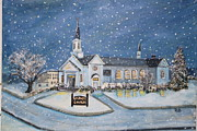 Snowy Night Framed Prints - Christmas Eve at St. Judes Framed Print by Rita Brown