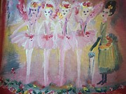 Ballet Dancers Painting Framed Prints - Christmas eve fairies Framed Print by Judith Desrosiers