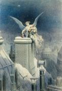 City Night Posters - Christmas Eve Poster by Gustave Dore