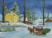 Winter Night Painting Metal Prints - Christmas Eve In The Country Metal Print by Charlotte Blanchard