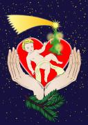 Exaltation Digital Art Posters - Christmas Eve- Nativity Poster by Michal Boubin
