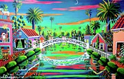 Beach Sunset Paintings - Christmas Eve on Retro Canal by Frank Strasser