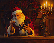 Santa Painting Metal Prints - Christmas Eve Touch Up Metal Print by Greg Olsen
