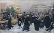 Crowds Painting Framed Prints - Christmas Fair  Framed Print by Heinrich Matvejevich Maniser