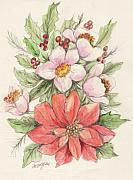 Holliday Prints - Christmas Flowers Print by Morgan Fitzsimons