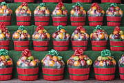 Baskets Framed Prints - Christmas Fruit Baskets on Shelves Framed Print by Jeremy Woodhouse