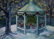 Waltham Prints - Christmas Gazebo Print by Rita Brown