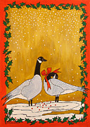 Nature Scene Drawings Prints - Christmas Geese Print by Susan Greenwood Lindsay
