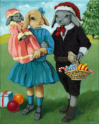 Linda Apple Originals - Christmas Greetings from Appletree Hollow - animal art by Linda Apple