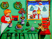 Puppies Paintings - Christmas Harmony by Lyn Cook