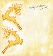 Blank Greeting Card Prints - Christmas holiday card golden background reindeer decorative b Print by Anna Omelchenko
