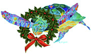 Turtle Paintings - Christmas Holiday Sea Turtle by Jo Lynch