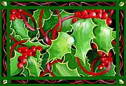 Christmas Flower Paintings - Christmas Holly and Berries by Janis Grau