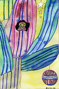 Told Prints - Christmas in July Cactus Owl  Print by Christy Woodland