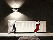 Christmas Card Greeting Cards - Christmas in Student Accommodation by Gary Lomax