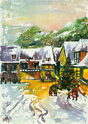 Mood Greeting Cards Posters - Christmas in the Small Town Poster by Elisabeta Hermann