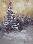 Snowy Trees Paintings - Christmas in the Wild by Dan  Whittemore