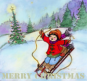 Wyoming Paintings - Christmas Joy Child on Sled by Glenna McRae